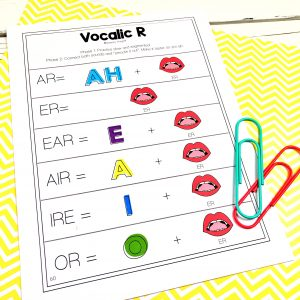 image for visual support used  to teach vocalic r in speech therapy