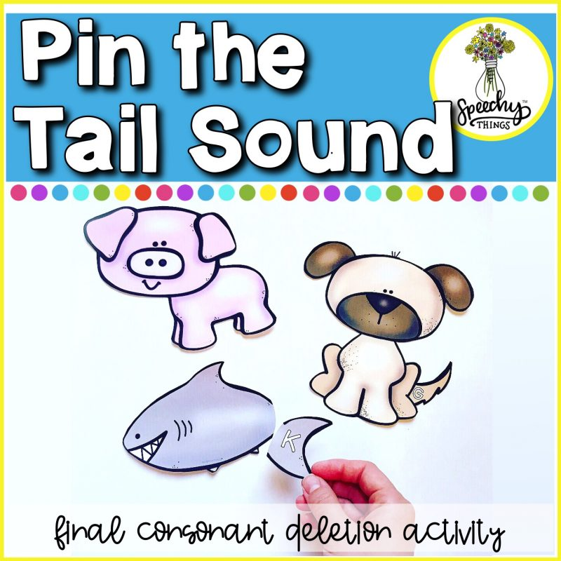 Cover photo for speech therapy final consonant deletion activity, Pin The Tail Sound.