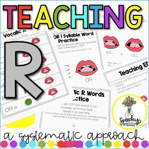 Cover for Teaching R speech therapy resource.