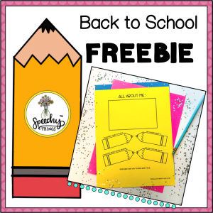 image of back to school speech therapy freebie