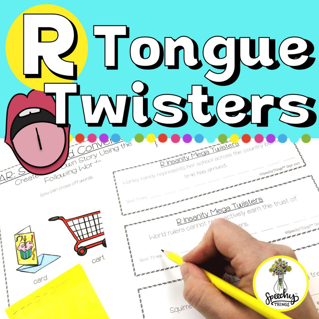 speech therapy articulation tongue twister activities for r sound