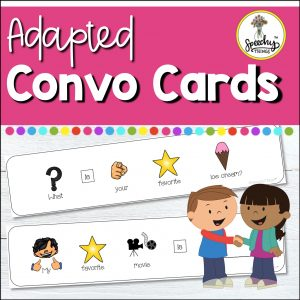 These adapted conversation starters provide the visual support needed to practice conversation skills with your students. They are SO helpful not only to support their response, but also for learning to return a question to their conversation partner. This resource makes it easy for many students to participate in a conversational activity who otherwise may not be able to.