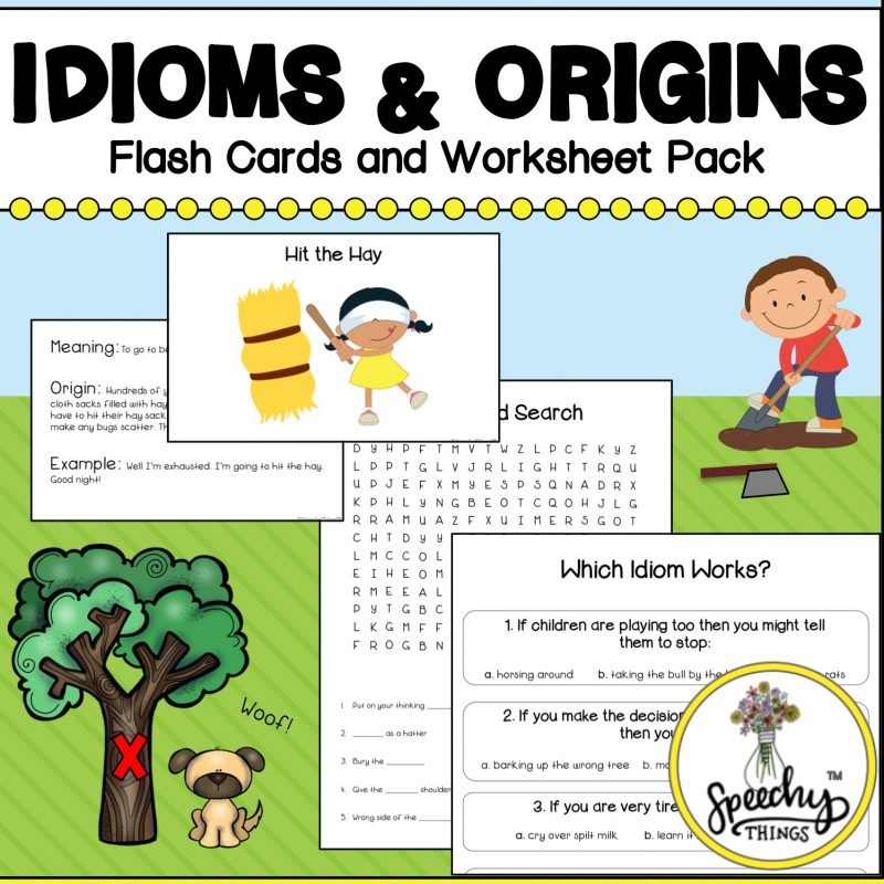 """Image of figurative language resource, """"Idioms and Origins"""" cards and worksheets for speech and language therapy."""