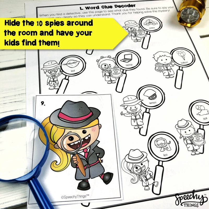 Image of Spy Game Late Sound speech therapy activity.