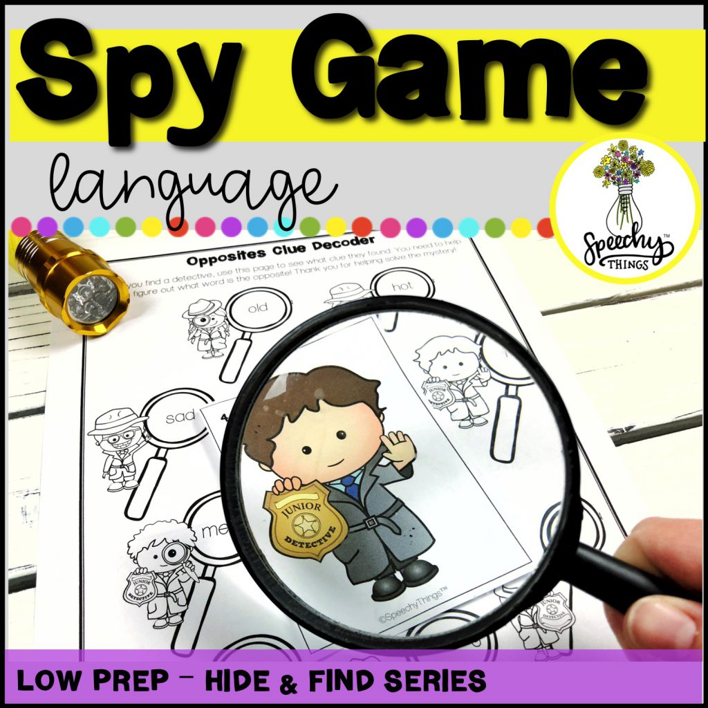 Image of Spy Game language activity for speech therapy.