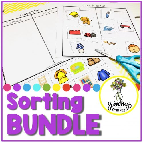 Image of sorting activities for speech therapy and language