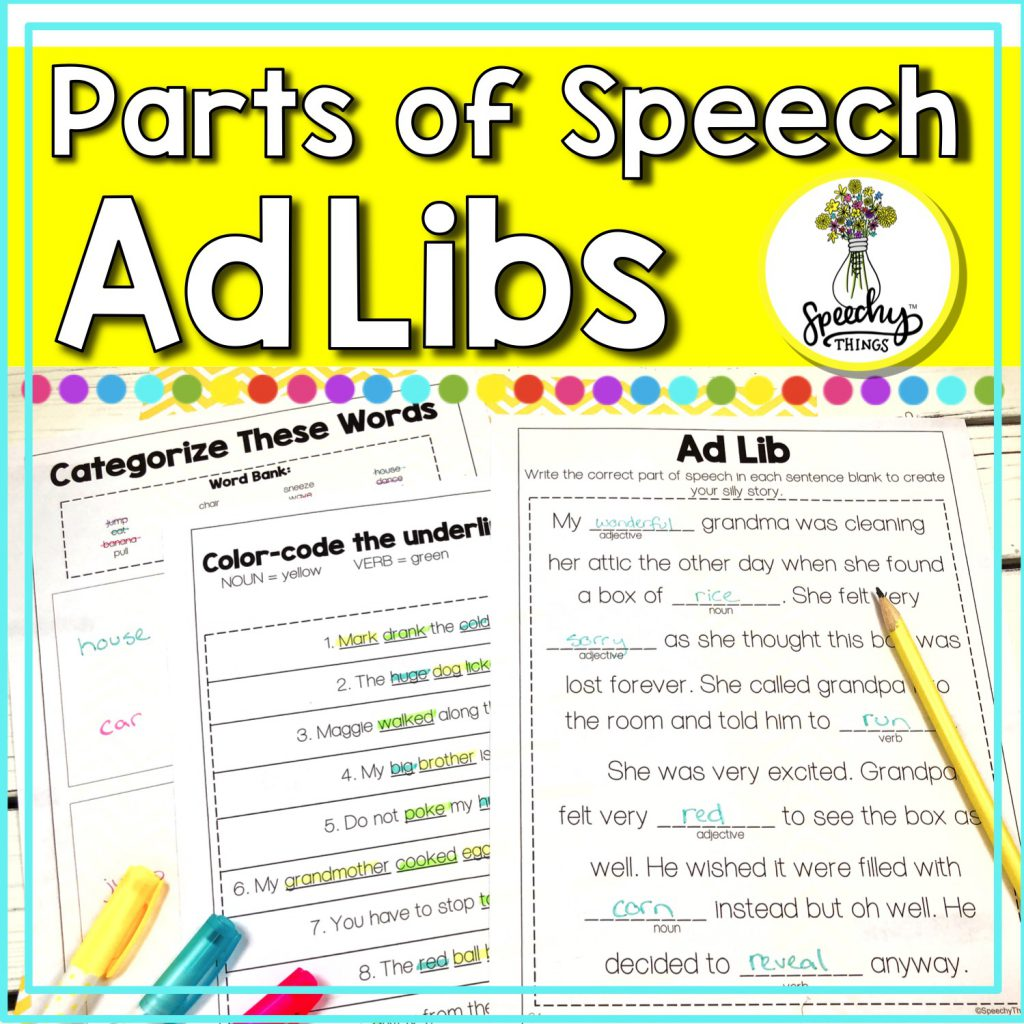 Cover for speech therapy worksheets and AdLibs for part of speech and grammar.