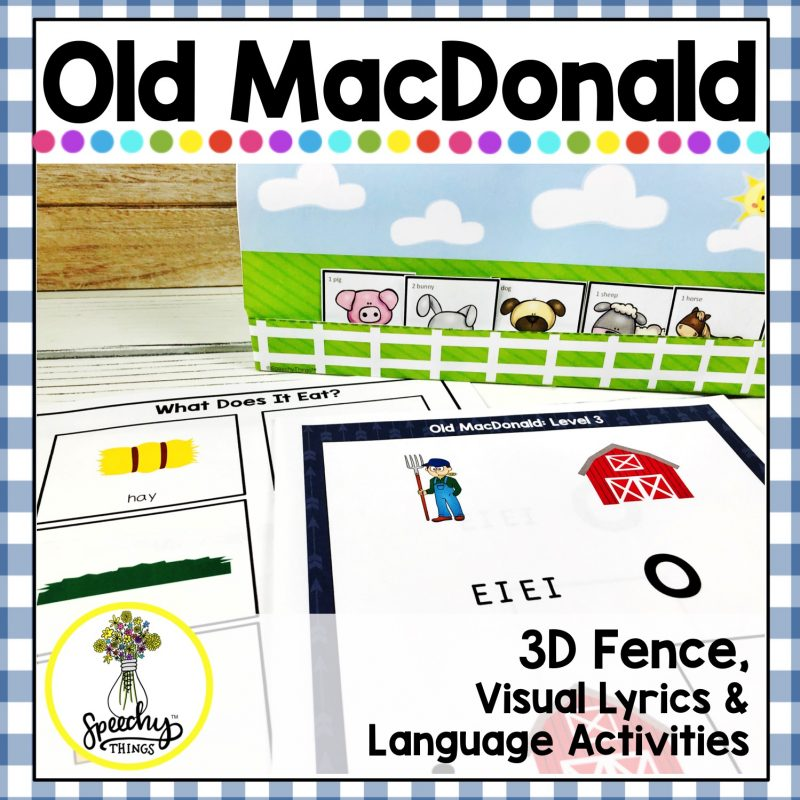 cover for speech therapy old macdonald song language activity