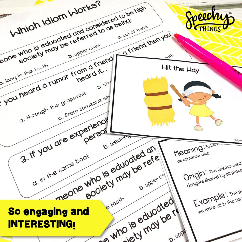 "Image of figurative language resource, ""Idioms and Origins"" cards and worksheets for speech and language therapy."