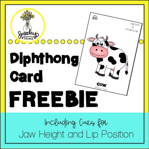 image of diphthong card freebie for speech therapy