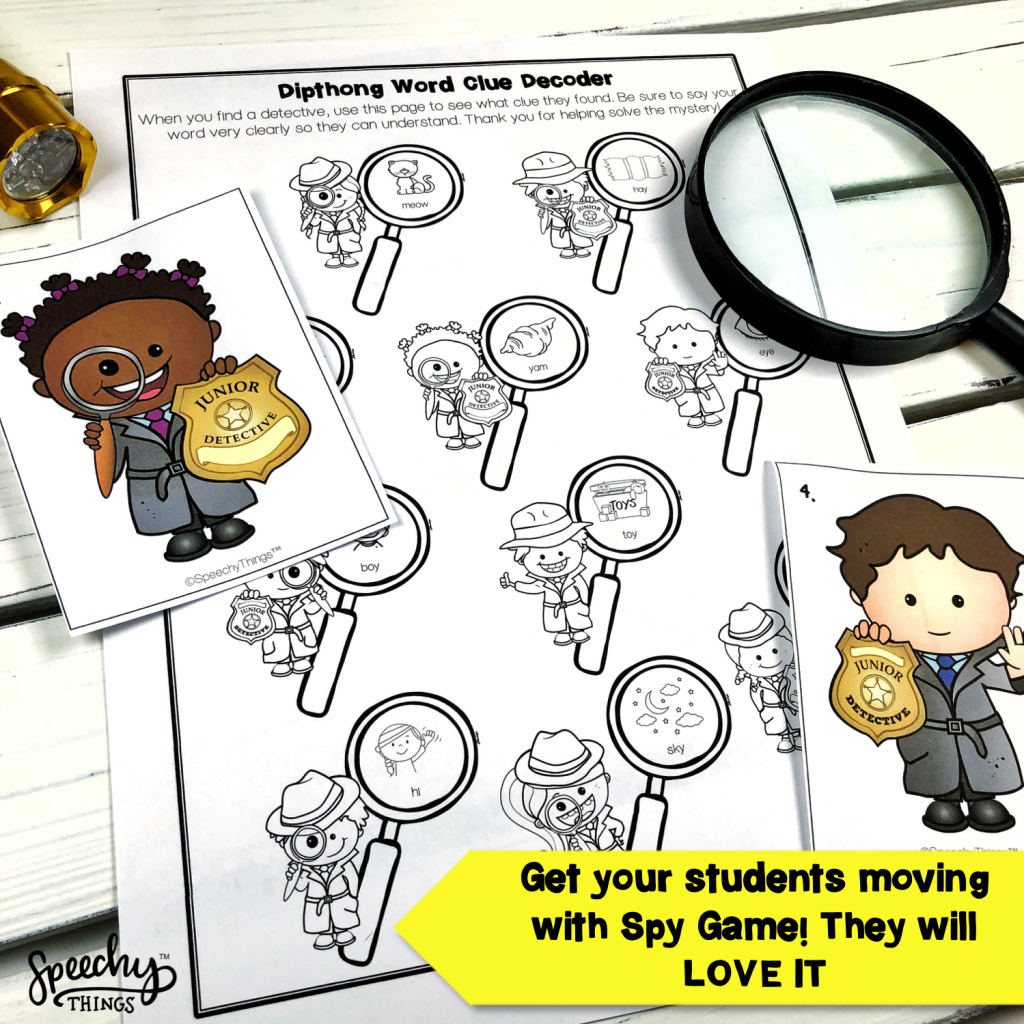 Image of Spy Game Apraxia speech therapy activity.