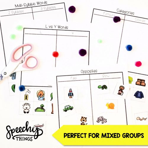 sorting activities for speech therapy and language