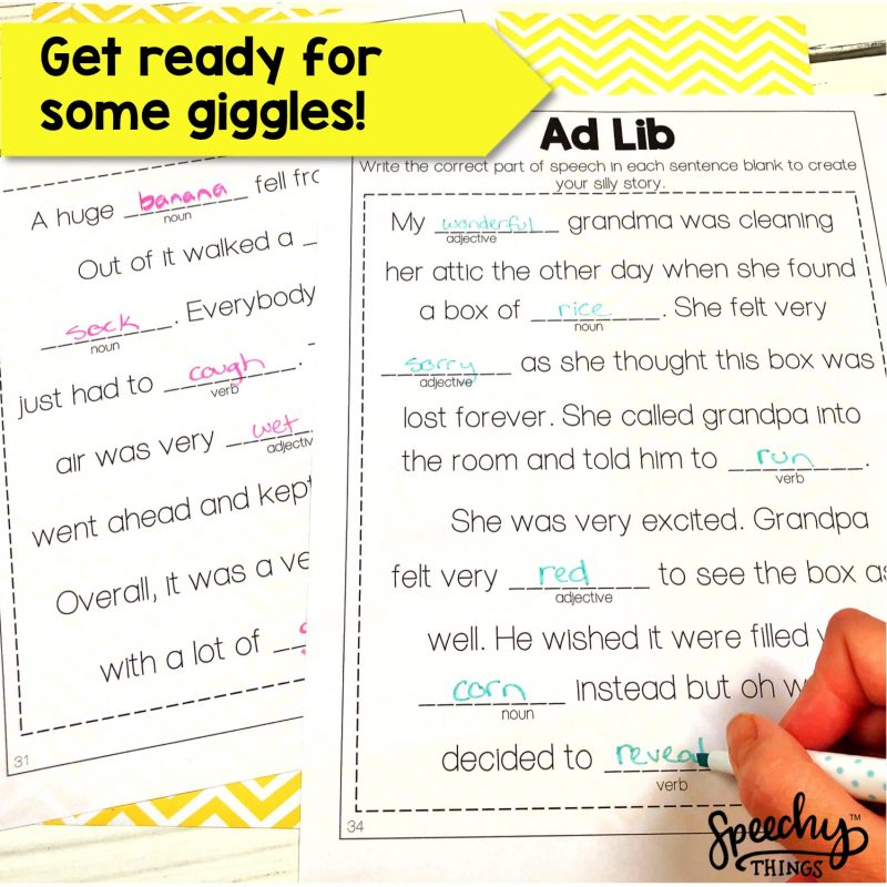 Speech therapy adlib worksheets for part of speech and grammar.