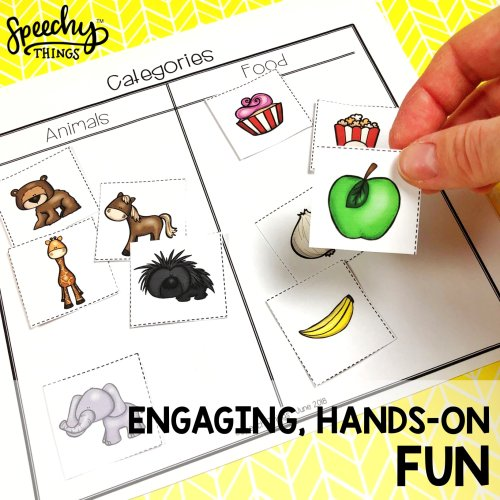 Image of speech therapy basic concepts language cut and paste activities.