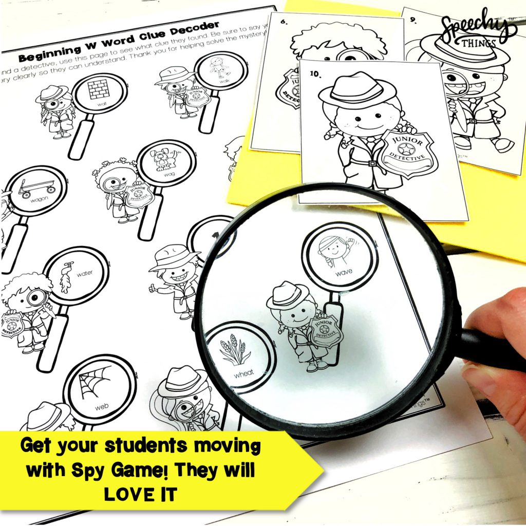 Image of Spy Game articulation game freebie for speech therapy.