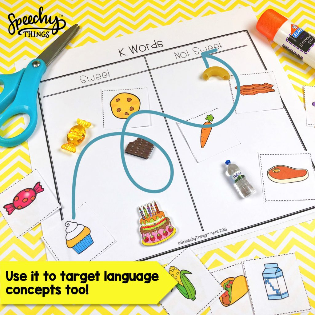 Image of cut and paste sorting speech and phonology activity for speech therapy.