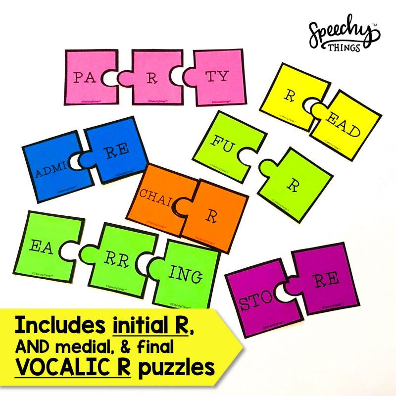 image of initial r and vocalic r puzzle for speech therapy