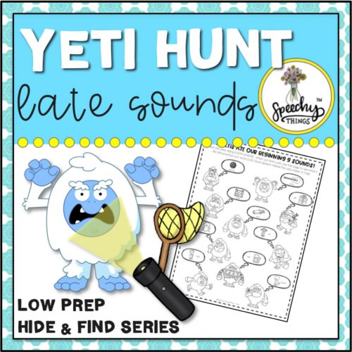 image of cover for speech therapy yeti hunt game for late sounds and r activities