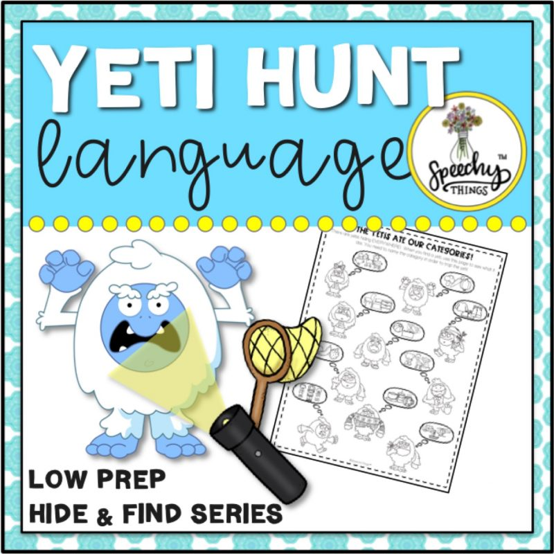 cover for speech therapy yeti language winter activities