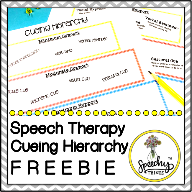 cover for speech therapy cueing hierarchy freebie for speech and language