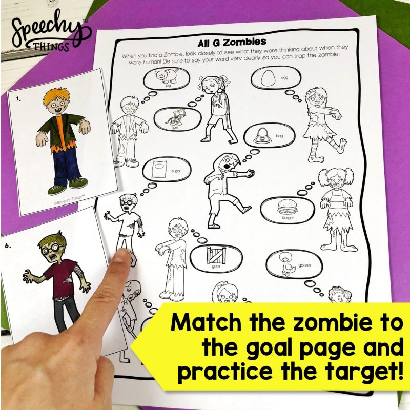 Zombie Hunt speech therapy game for early sounds articulation.