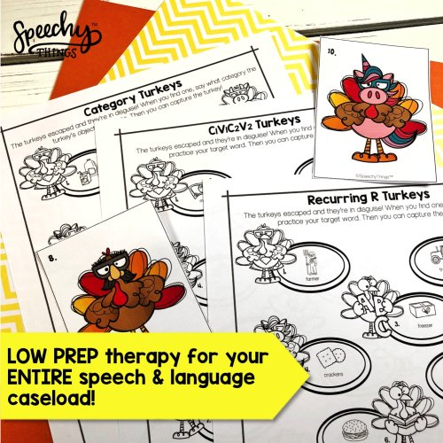 turkey hunt speech therapy activities