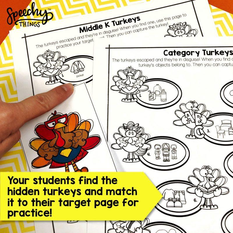 turkey hunt speech therapy activities