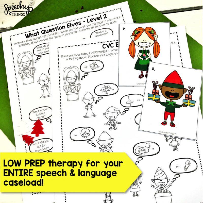 image of Elf Hunt Christmas Speech Therapy Activities